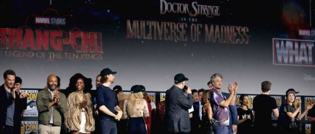 Large cast of upcoming Marvel films at the 2019 San Diego Comic Con International.